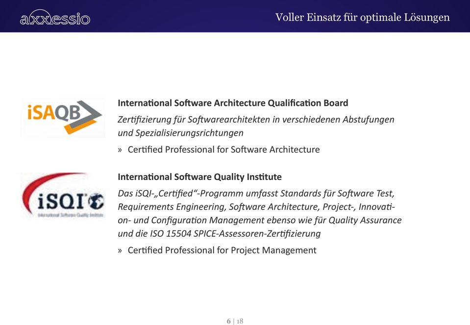 Institute Das isqi- Certified -Programm umfasst Standards für Software Test, Requirements Engineering, Software Architecture, Project-,