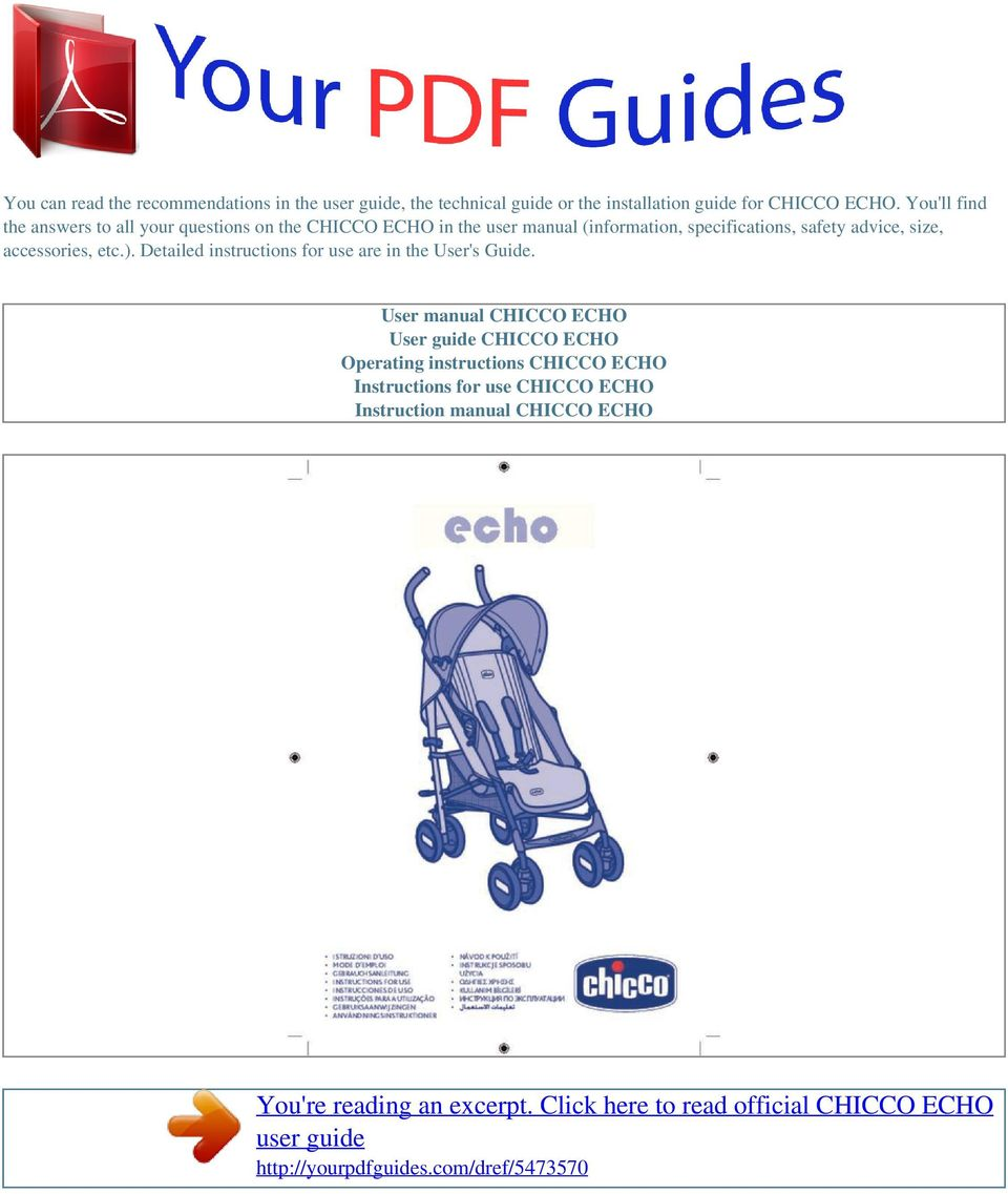 safety advice, size, accessories, etc.). Detailed instructions for use are in the User's Guide.