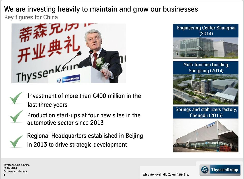 Production start-ups at four new sites in the automotive sector since 2013 Springs and stabilizers factory, Chengdu