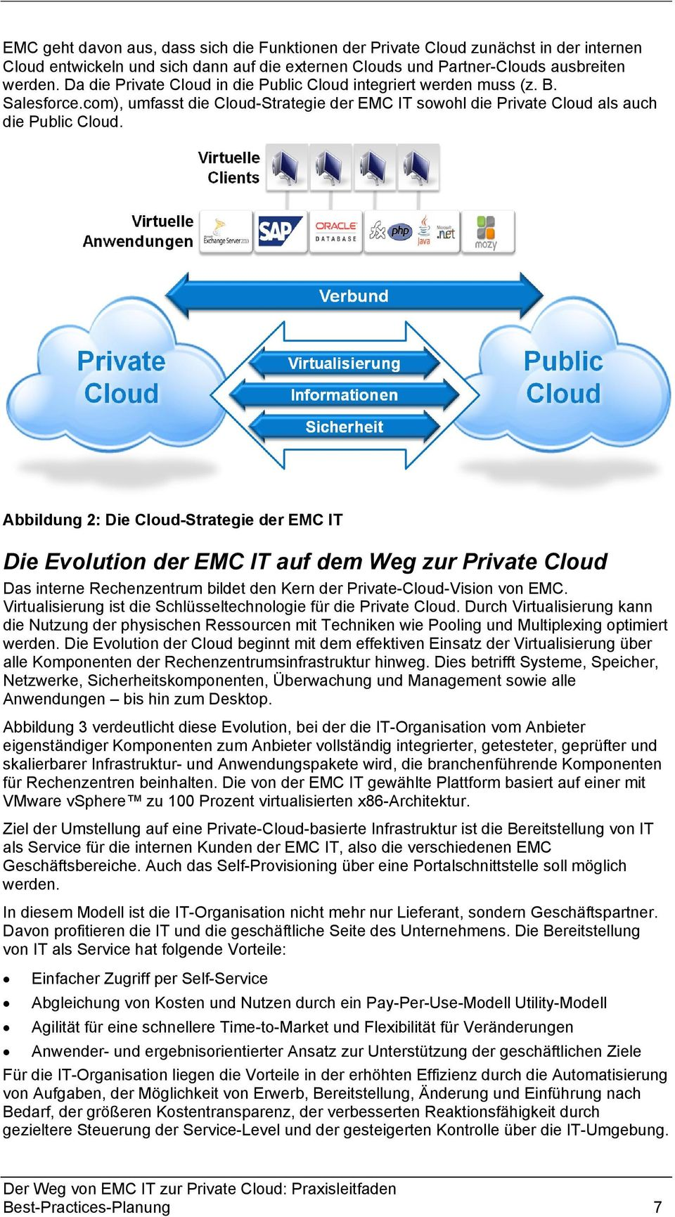 Abbildung 2: Die Cloud-Strategie der EMC IT Die Evolution der EMC IT auf dem Weg zur Private Cloud Das interne Rechenzentrum bildet den Kern der Private-Cloud-Vision von EMC.