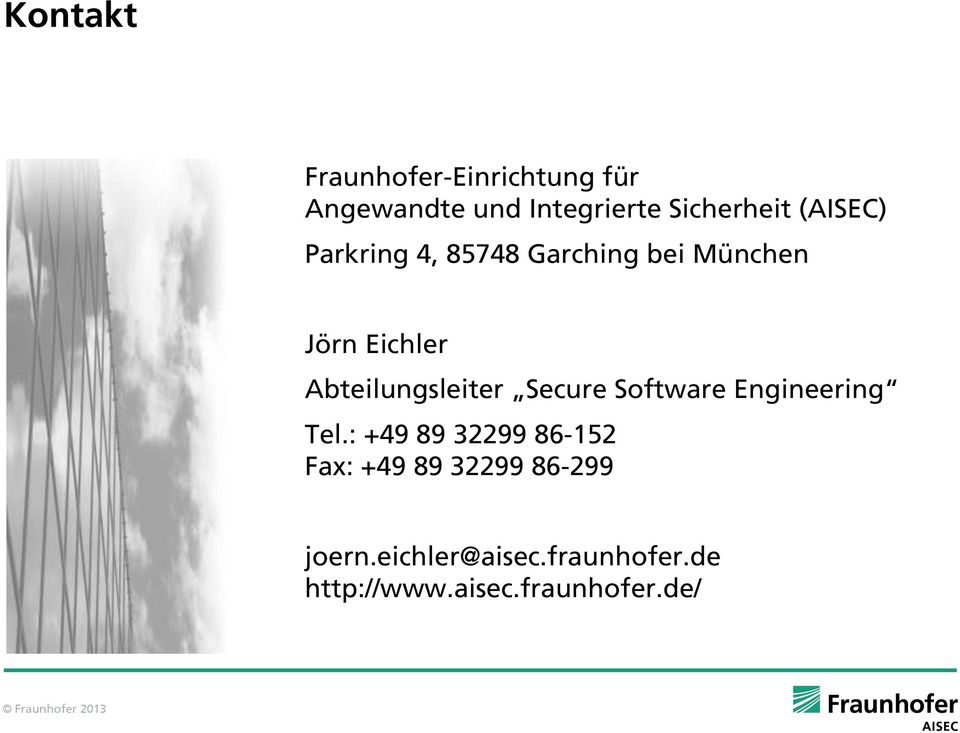 Abteilungsleiter Secure Software Engineering Tel.
