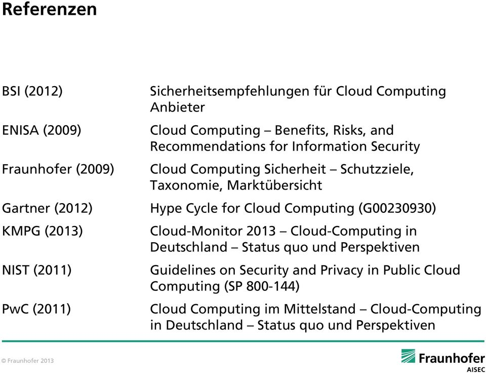 Taxonomie, Marktübersicht Hype Cycle for Cloud Computing (G00230930) Cloud-Monitor 2013 Cloud-Computing in Deutschland Status quo und