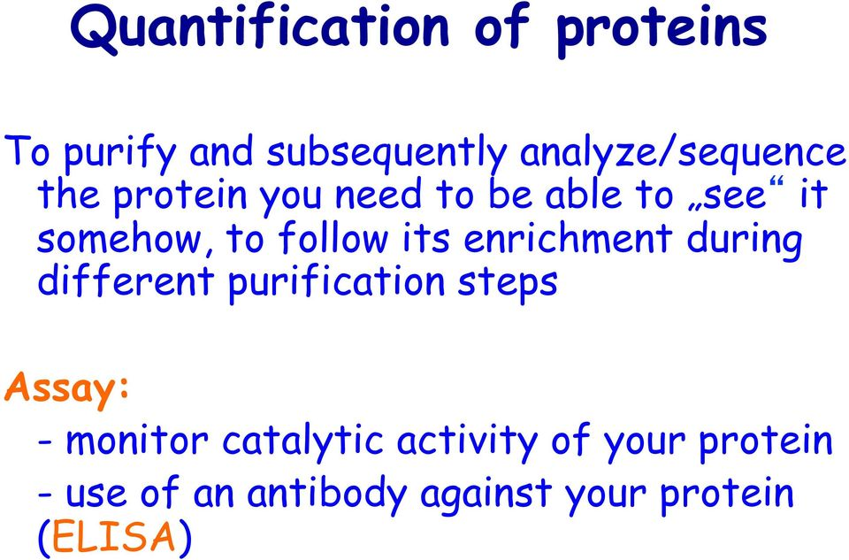 enrichment during different purification steps Assay: - monitor