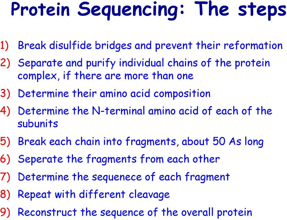 N-terminal amino acid of each of the subunits 5) Break each chain into fragments, about 50 As long 6) Seperate the fragments