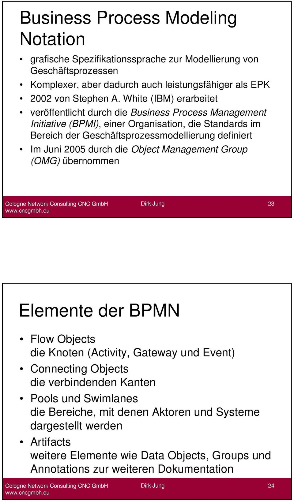 definiert Im Juni 2005 durch die Object Management Group (OMG) übernommen 23 Elemente der BPMN Flow Objects die Knoten (Activity, Gateway und Event) Connecting Objects die