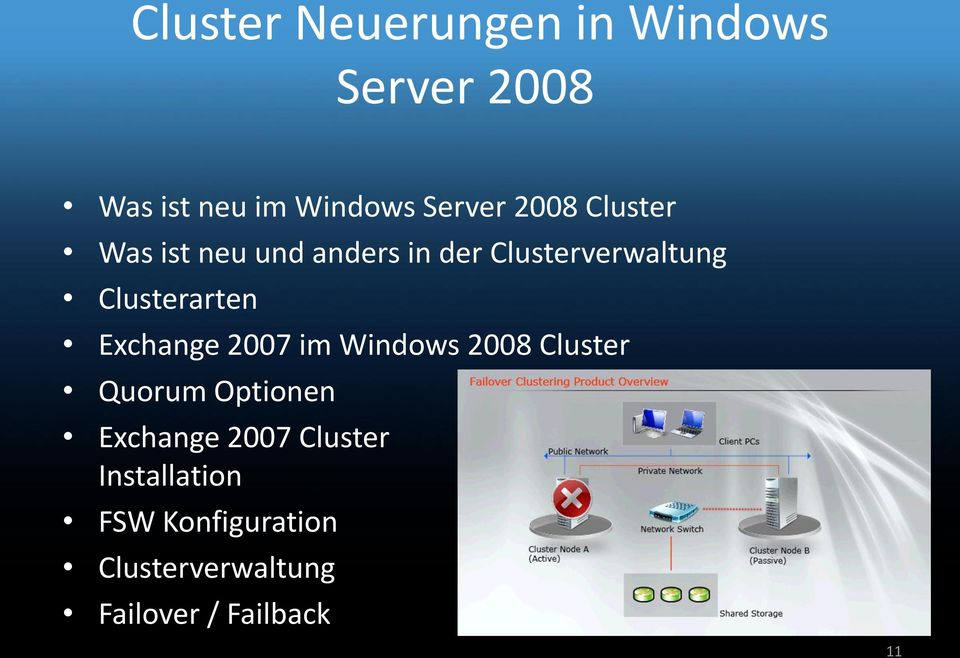 Exchange 2007 im Windows 2008 Cluster Quorum Optionen Exchange 2007 Cluster