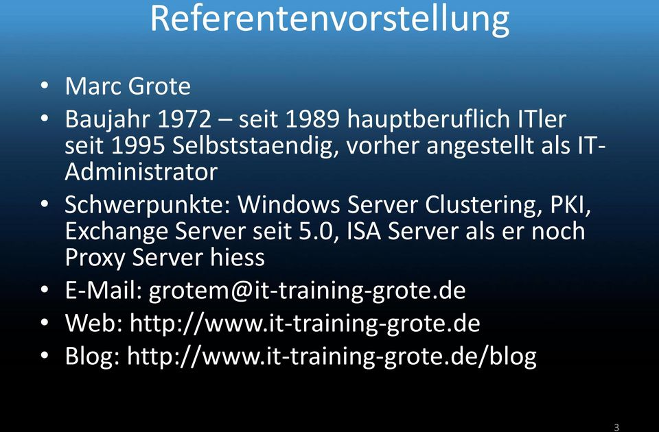 Clustering, PKI, Exchange Server seit 5.