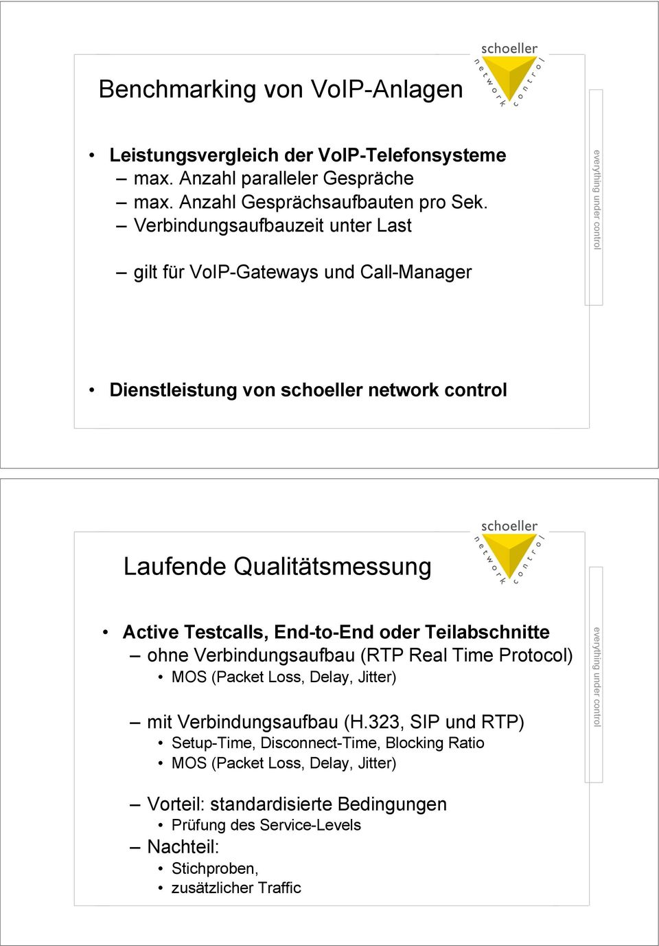 Active Testcalls, End-to-End oder Teilabschnitte! ohne Verbindungsaufbau (RTP Real Time Protocol)! MOS (Packet Loss, Delay, Jitter)! mit Verbindungsaufbau (H.