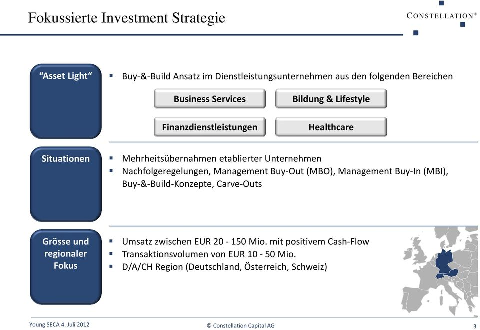 Nachfolgeregelungen, Management Buy-Out (MBO), Management Buy-In (MBI), Buy-&-Build-Konzepte, Carve-Outs Grösse und regionaler