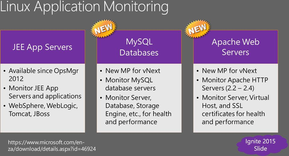 , for health and performance Apache Web Servers New MP for vnext Monitor Apache HTTP Servers (2.2 2.