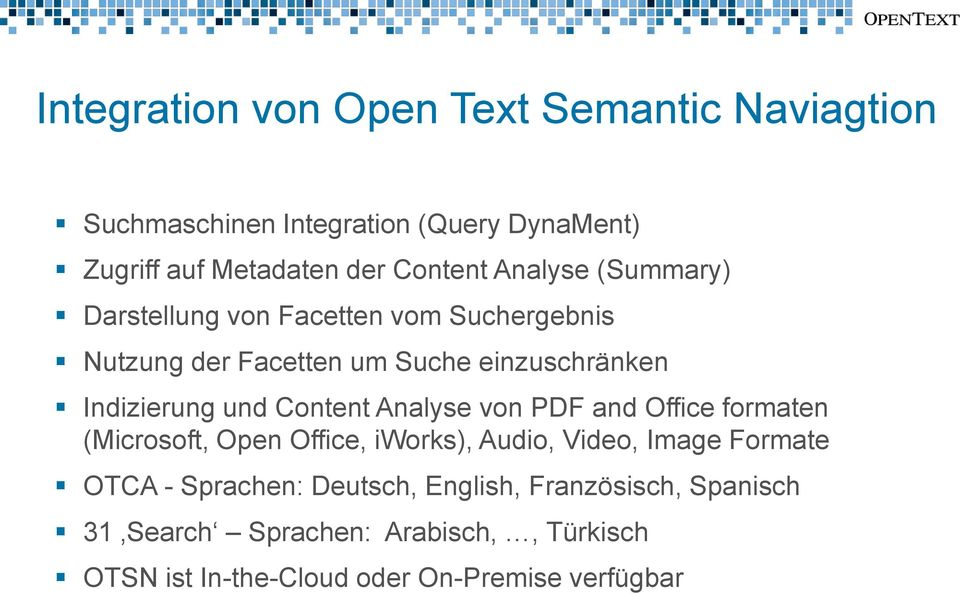Content Analyse von PDF and Office formaten (Microsoft, Open Office, iworks), Audio, Video, Image Formate OTCA - Sprachen: