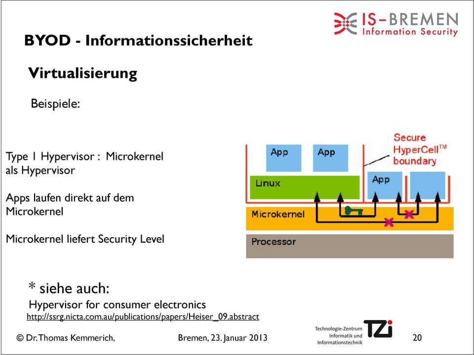 Microkernel liefert Security Level * siehe auch: Hypervisor for