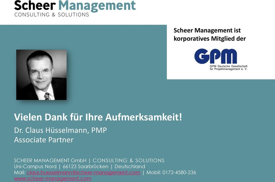 Claus Hüsselmann, PMP Associate Partner SCHEER MANAGEMENT GmbH