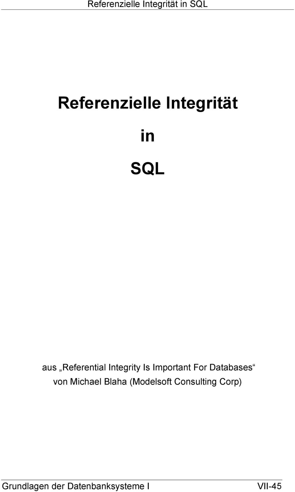 Important For Databases von