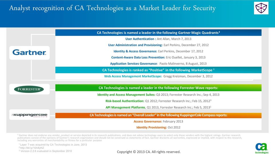 Application Services Governance: Paolo Malinverno, 8 August, 2013 CA Technologies is ranked as Positive in the following MarketScope Web Access Management MarketScope: Gregg Kreizman, December 3,