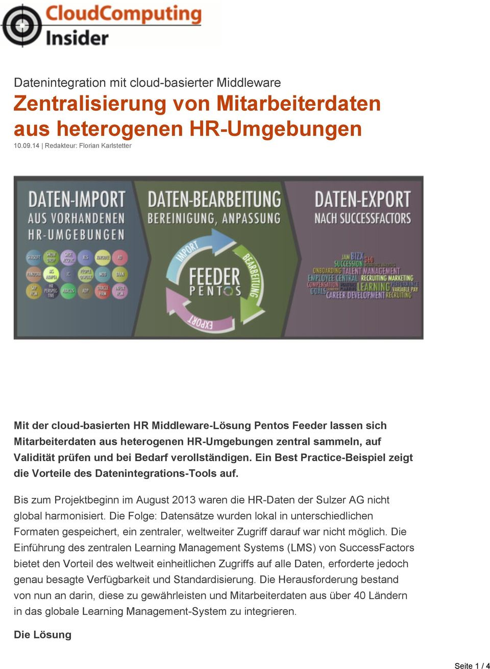 Integration in die HCM- Lösung SuccessFactors von SAP.