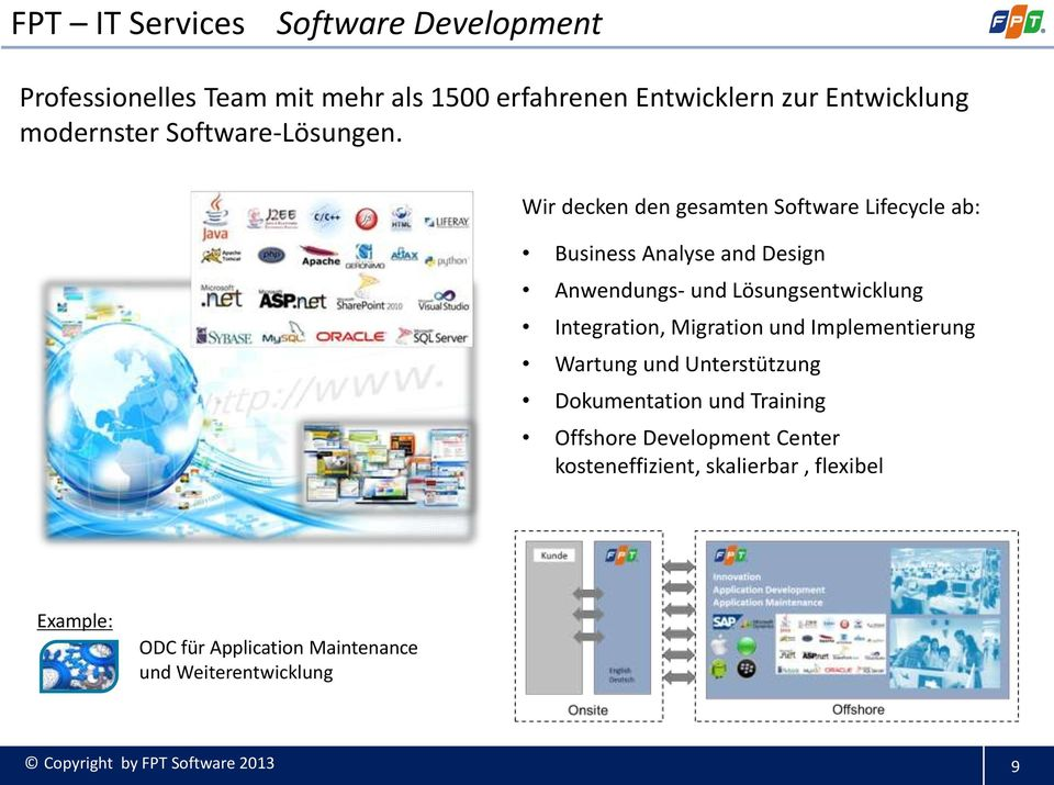 Wir decken den gesamten Software Lifecycle ab: Business Analyse and Design Anwendungs- und Lösungsentwicklung Integration,