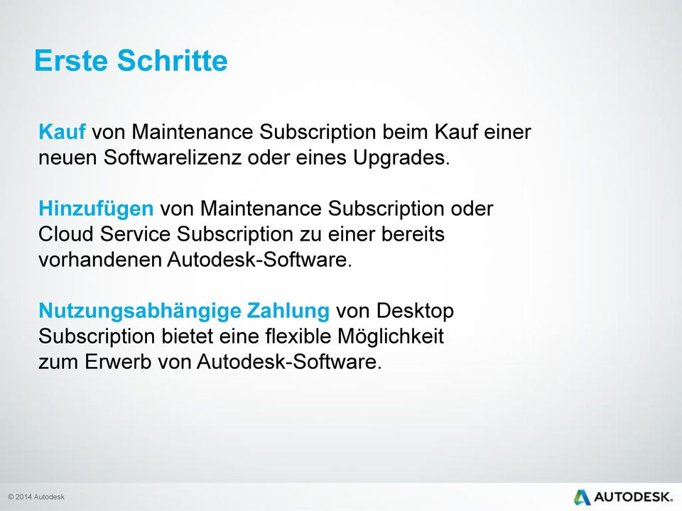 Hinzufügen von Maintenance Subscription oder Cloud Service Subscription zu einer