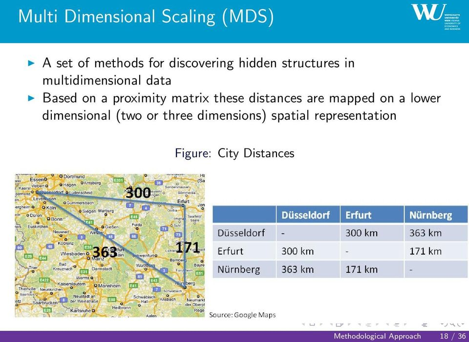 distances are mapped on a lower dimensional (two or three dimensions)
