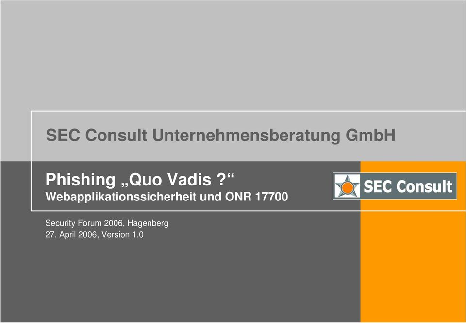 Webapplikationssicherheit und ONR