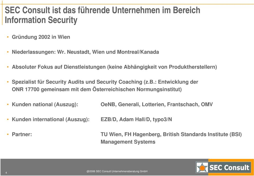 und Security Coaching (z.b.