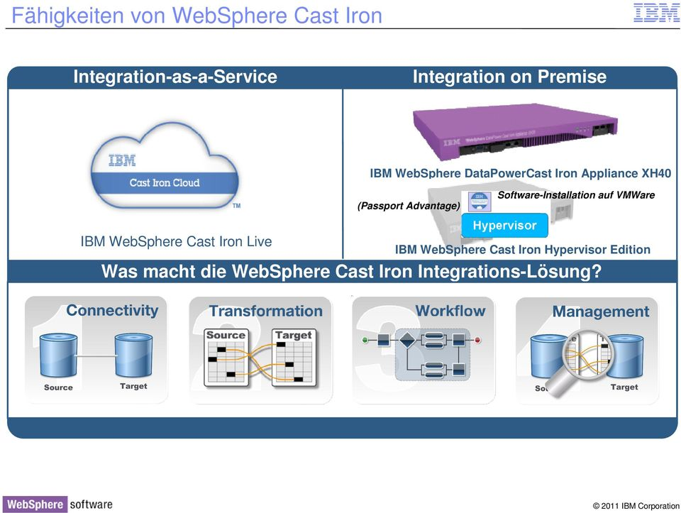 Software-Installation auf VMWare IBM WebSphere Cast Iron Live IBM WebSphere