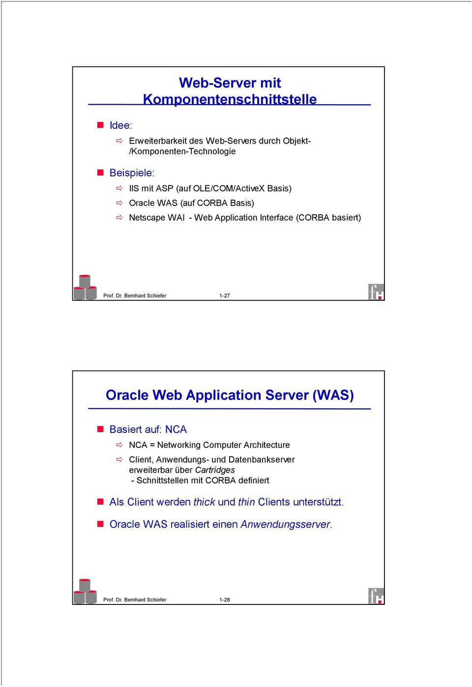 Bernhard Schiefer 1-27 Oracle Web Application Server (WAS) Basiert auf: NCA NCA = Networking Computer Architecture Client, Anwendungs- und
