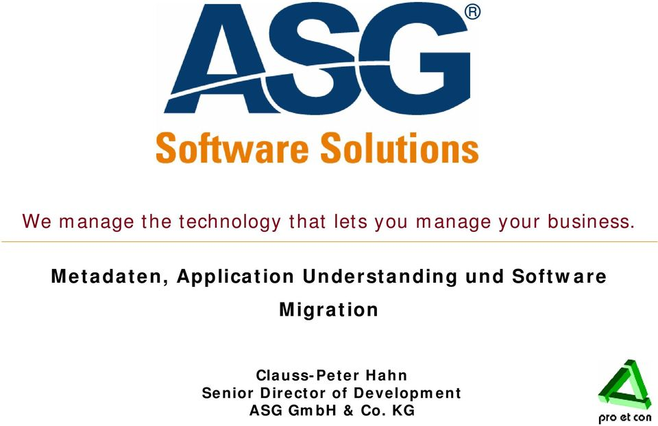 Metadaten, Application Understanding und