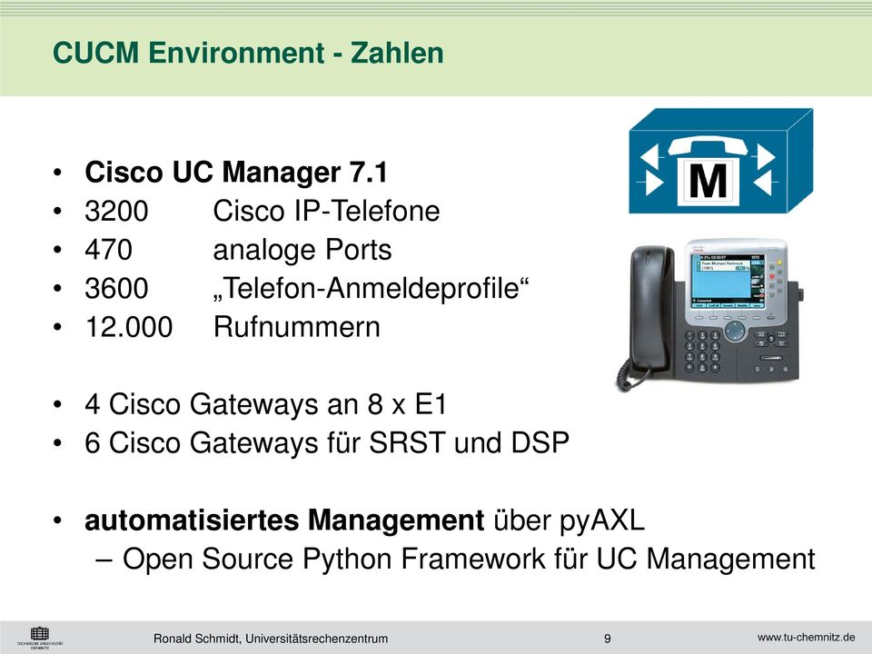 12.000 Rufnummern 4 Cisco Gateways an 8 x E1 6 Cisco Gateways für SRST