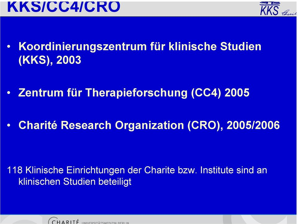 Research Organization (CRO), 2005/2006 118 Klinische