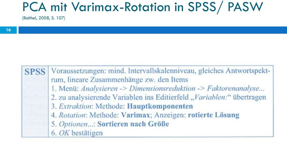 in SPSS/ PASW