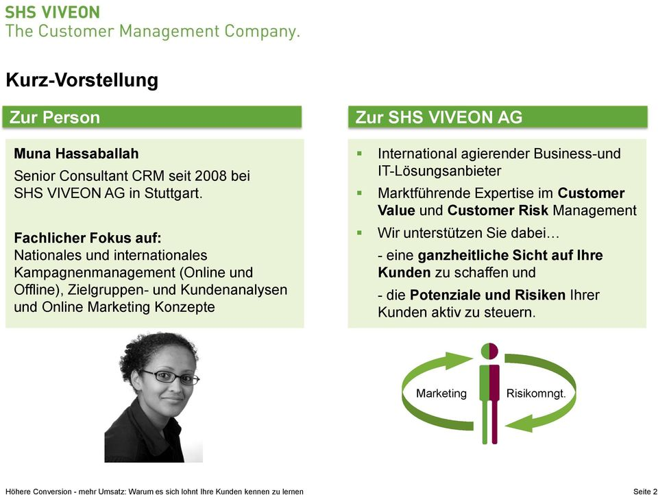 Marketing Konzepte Zur SHS VIVEON AG International agierender Business-und IT-Lösungsanbieter Marktführende Expertise im Customer Value und