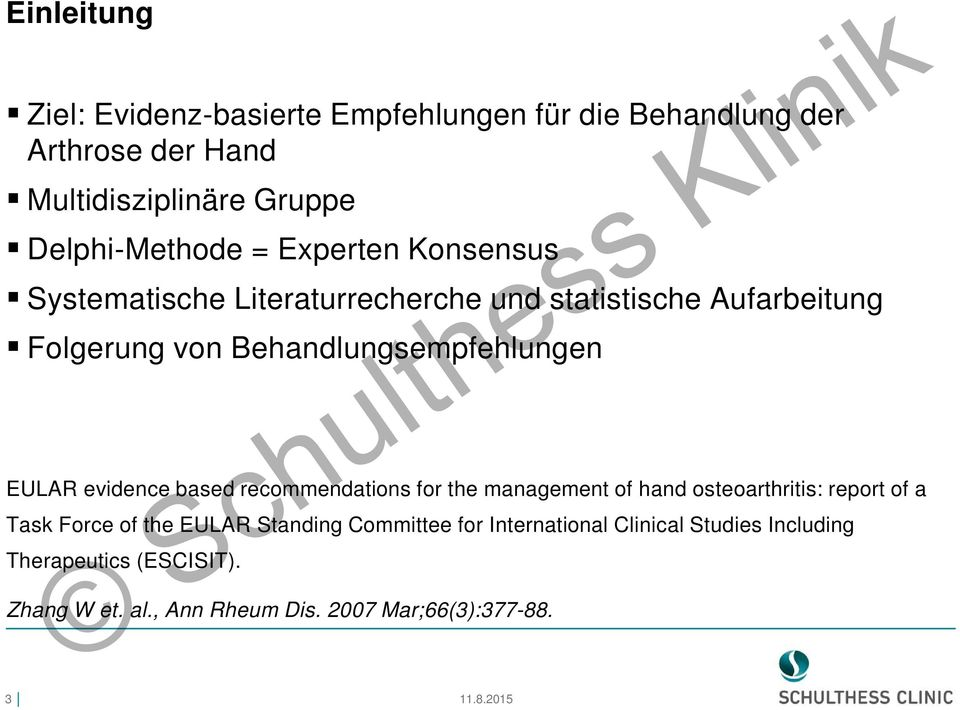 evidence based recommendations for the management of hand osteoarthritis: report of a Task Force of the EULAR Standing