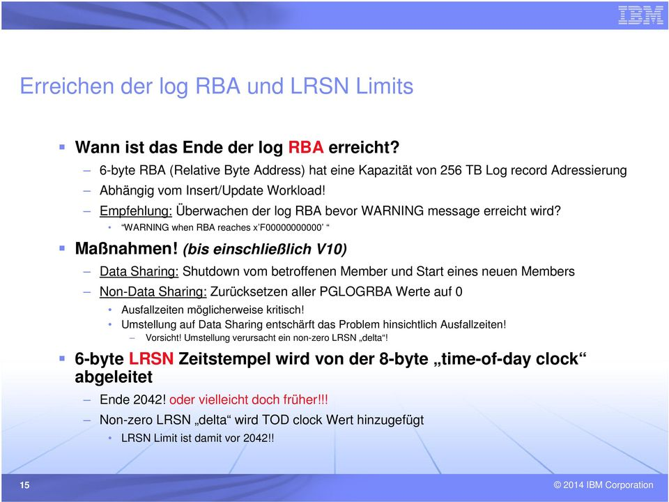 WARNING when RBA reaches x F00000000000 Maßnahmen!