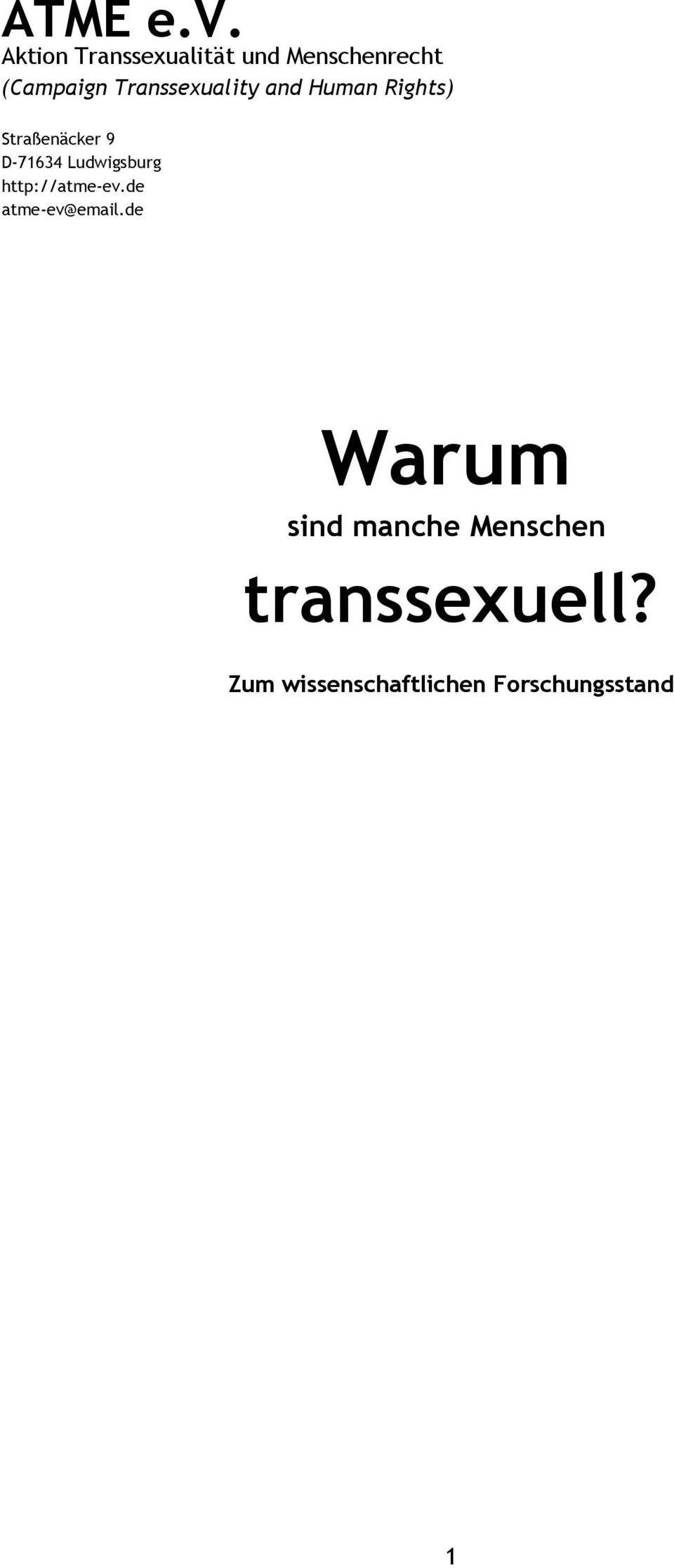 Transsexuality and Human Rights) Straßenäcker 9 D-71634