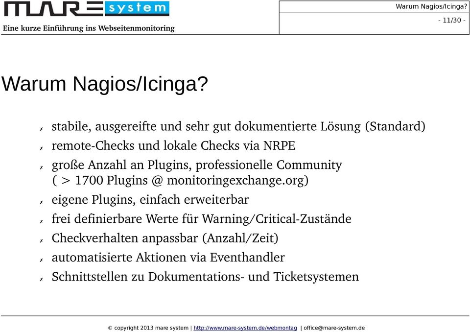 Anzahl an Plugins, professionelle Community ( > 1700 Plugins @ monitoringexchange.