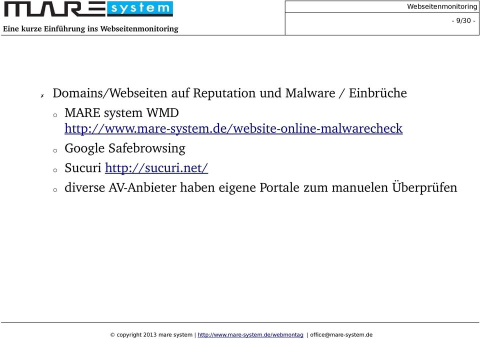 de/website online malwarecheck Google Safebrowsing Sucuri