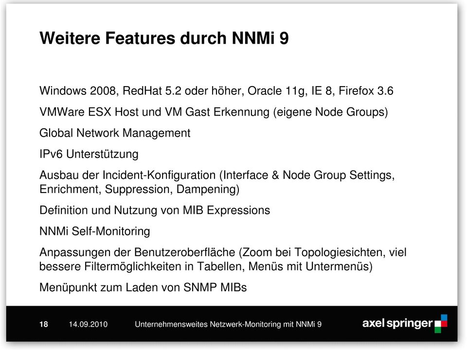 Incident-Konfiguration (Interface & Node Group Settings, Enrichment, Suppression, Dampening) Definition und Nutzung von MIB