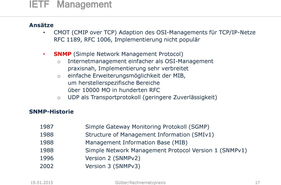 in hunderten RFC o UDP als Transportprotokoll (geringere Zuverlässigkeit) SNMP-Historie 1987 Simple Gateway Monitoring Protokoll (SGMP) 1988 Structure of Management Information (SMIv1)