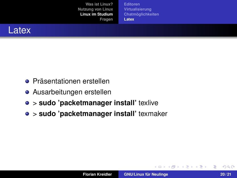 packetmanager install texlive > sudo packetmanager