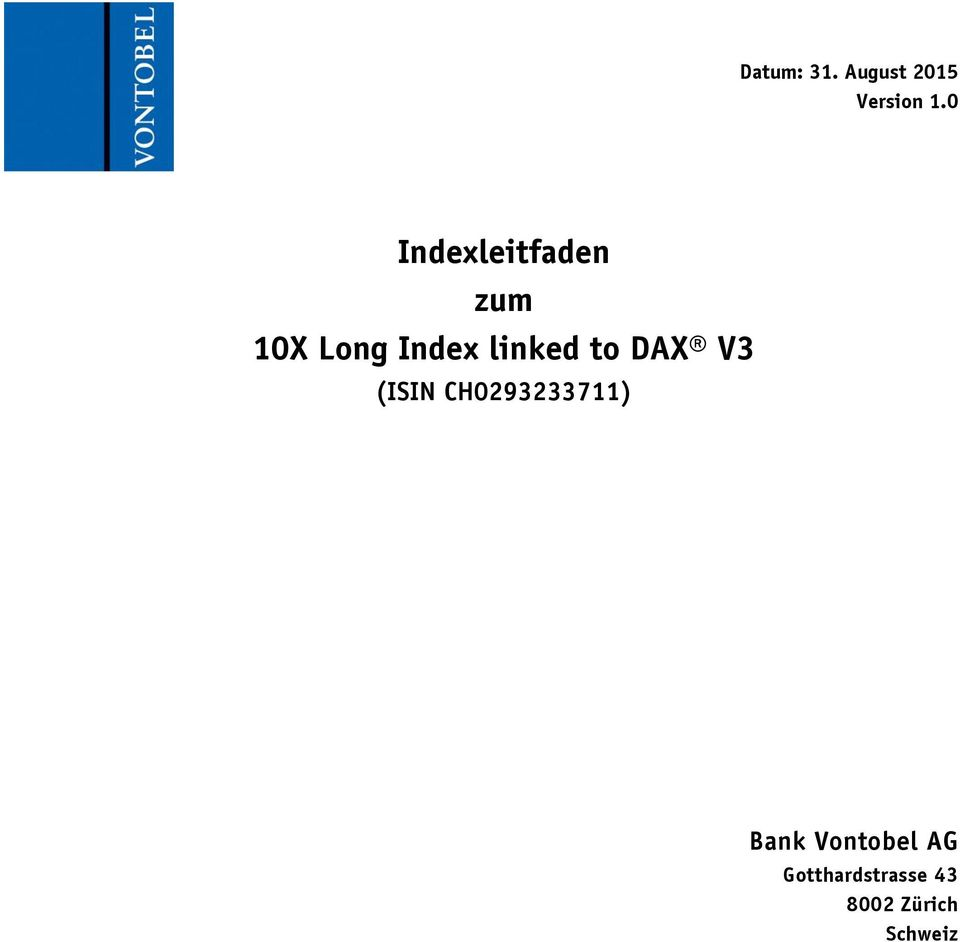 linked to DAX V3 (ISIN CH0293233711)
