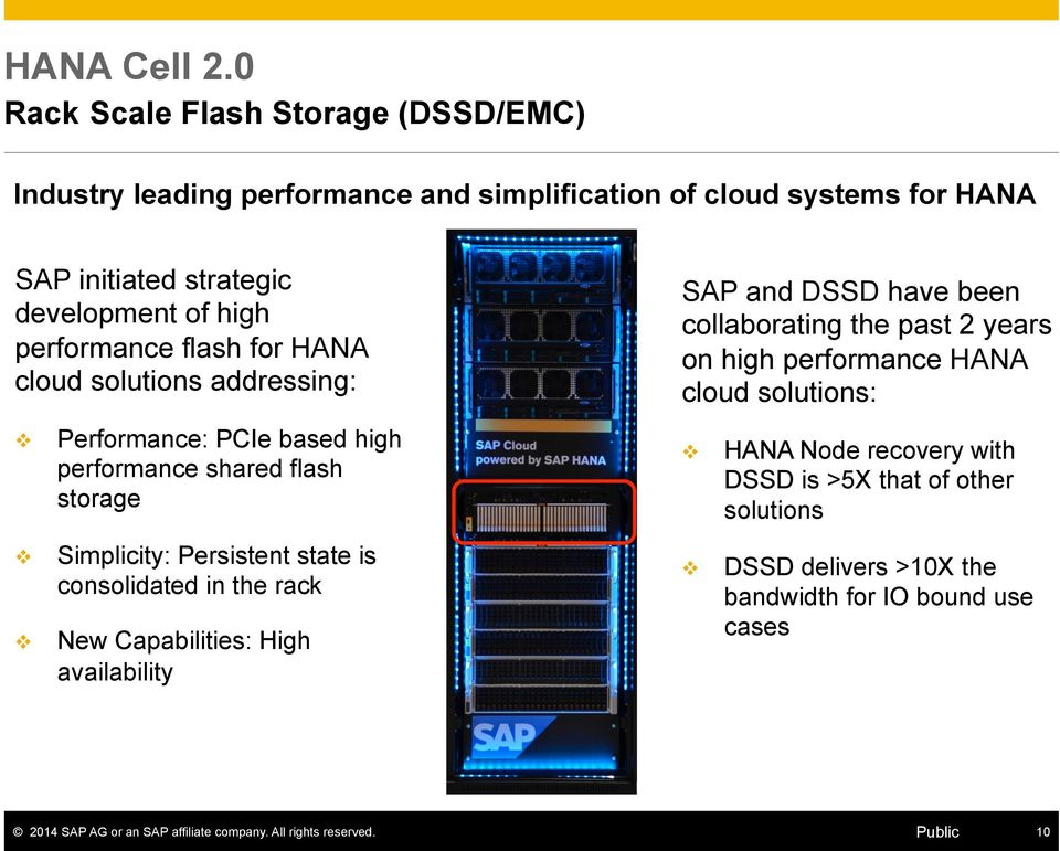 high performance flash for HANA cloud solutions addressing: v v v Performance: PCIe based high performance shared flash storage Simplicity: Persistent