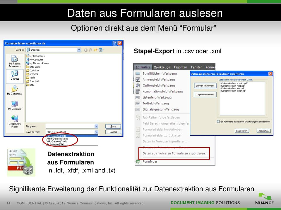 xml Datenextraktion aus Formularen in.fdf,.xfdf,.xml and.