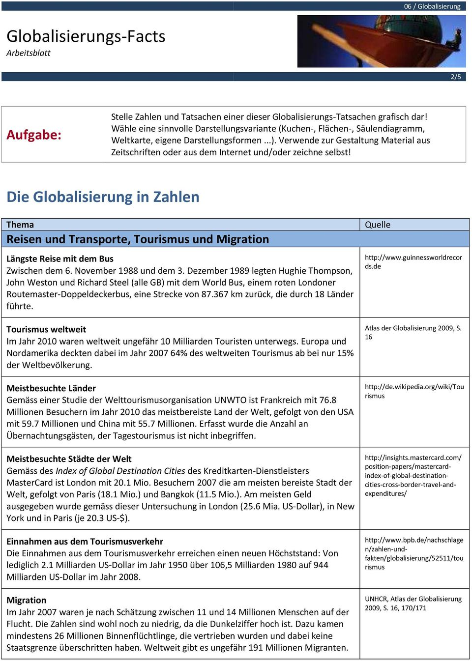 Globalisierungs-Facts Arbeitsblatt - PDF