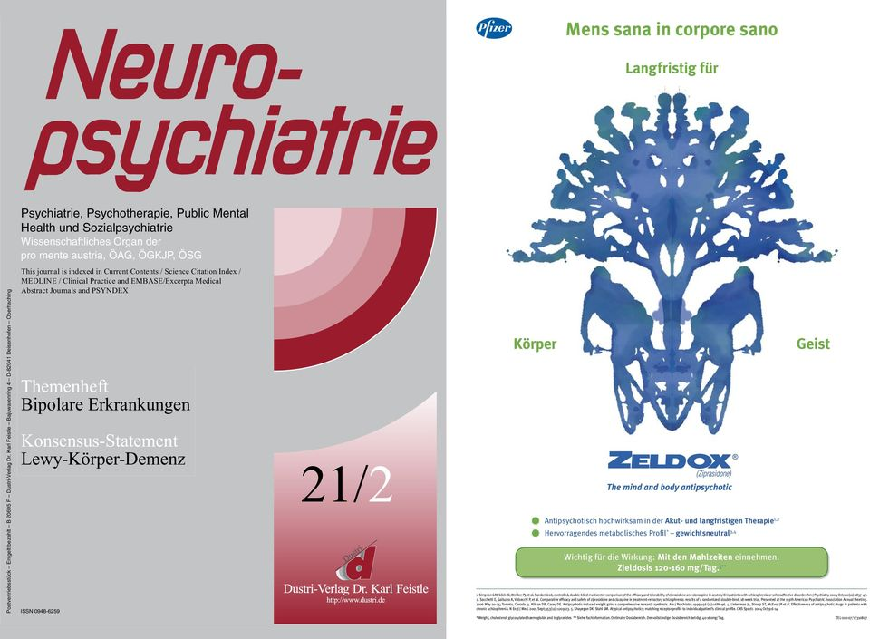 mente austria, ÖAG, ÖGKJP, ÖSG Psychiatrie, Psychotherapie, Public Mental This journal is indexed in Current Contents / Science Citation Index / Health MEDLINE / und Clinical Sozialpsychiatrie