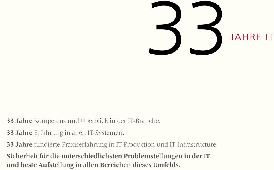 33 Jahre fundierte Praxiserfahrung in IT-Production und IT-Infrastructure.