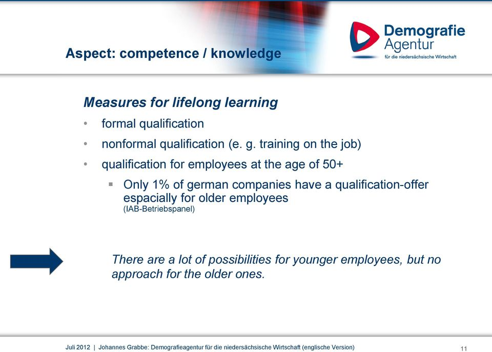 qualification-offer espacially for older employees (IAB-Betriebspanel) There are a lot of possibilities for younger