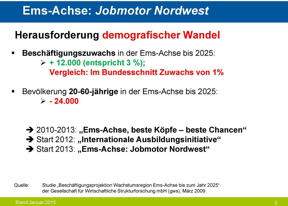 000 2010-2013: Ems-Achse, beste Köpfe beste Chancen Start 2012: Internationale Ausbildungsinitiative Start 2013: Ems-Achse: