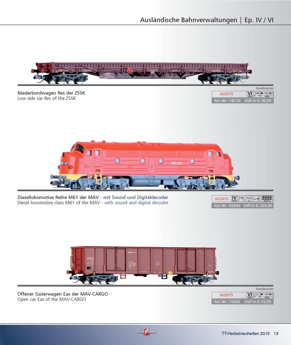 locomotive class M61 of the MAV - with sound and digital decoder 158 Art.