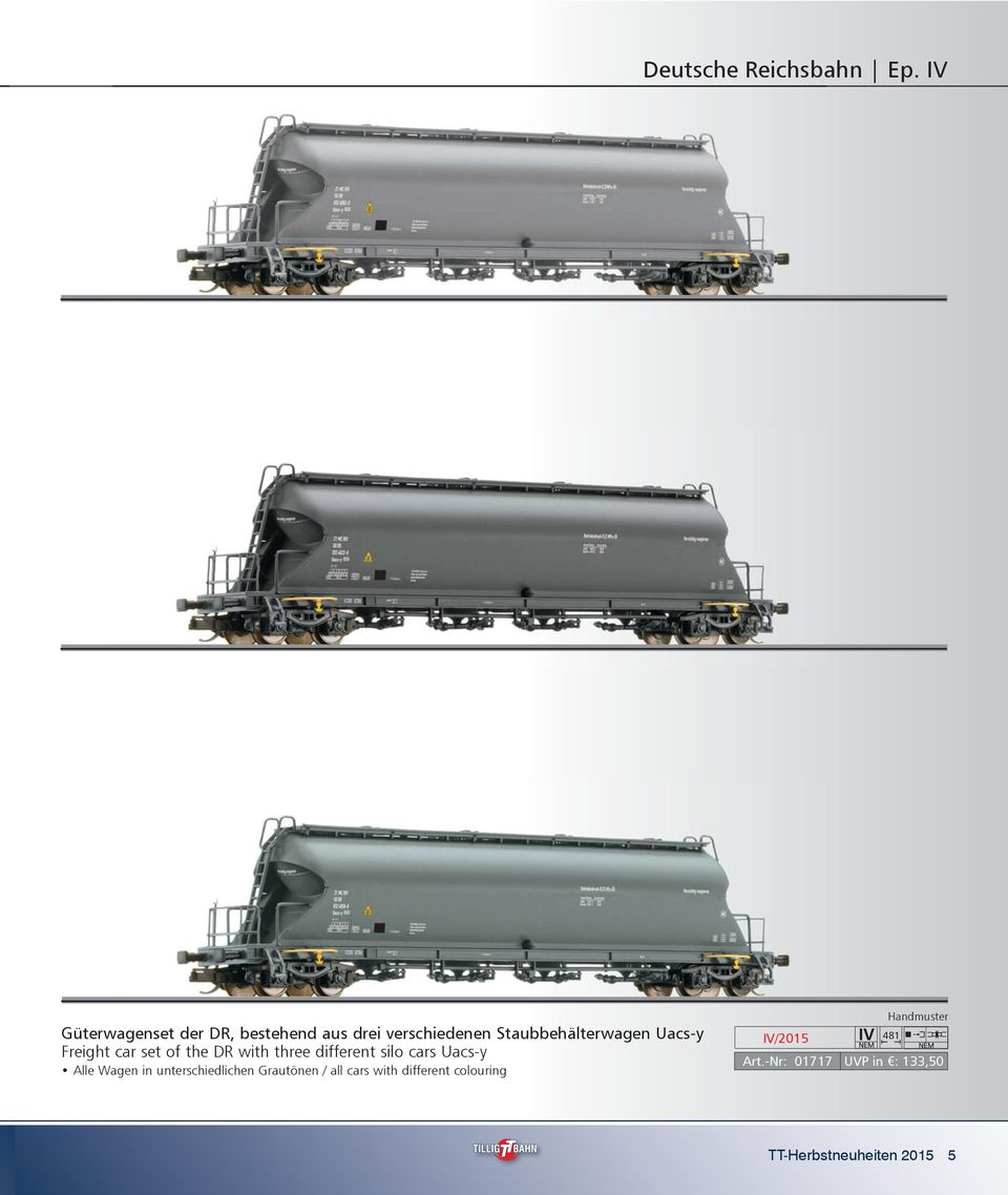 Uacs-y Freight car set of the DR with three different silo cars Uacs-y Alle